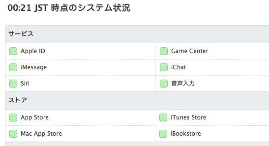 Apple  サポート  システム状況