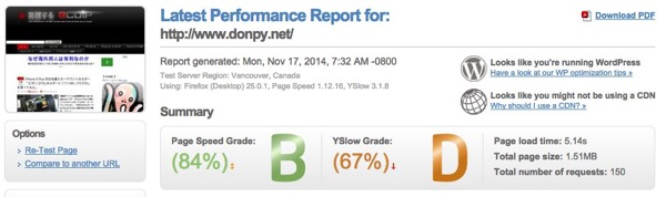 Latest Performance Report for http www donpy net | GTmetrix 8