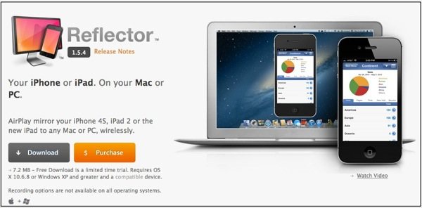 Reflector app  AirPlay mirroring to your Mac or PC wirelessly