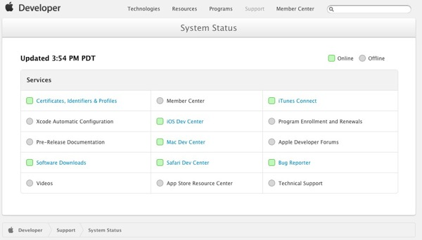 System Status  Apple Developer 1
