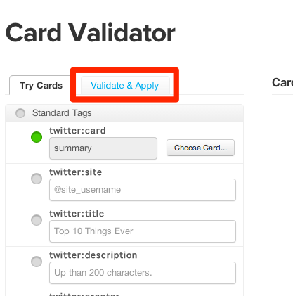 Card Validator | Twitter Developers 1